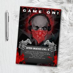 Video Game Party, Party Games, Birthday Games, Birthday Party Invitations, Skull Game, Quinceanera Invitations, Baby Shower Invites For Girl, Print Packaging, Birthday Photos