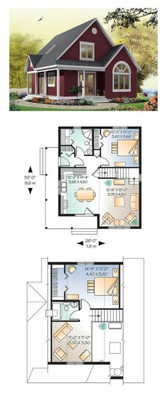 Cottage style cool house plan id chp 28554 total living area 1226 sq ft 2 bedrooms and 2 bathrooms cottageplan Sims House Plans, Best House Plans, Small House Plans, Tiny Cottage Floor Plans, Small Floor Plans, House Plan Two Story, One Floor House Plans, Loft Floor Plans, Duplex House Plans