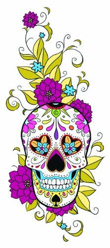 "Sugar Skull Temporary Tattoo. 2"" x 4.5"" Sugar Skul Temporary Tattoo. Lasts 5-7 days even with swimming and bathing. Easy to put on and easy to remove!. Skin safe using FDA approved ingredients."