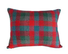 Red Grey Teal  Plaid Pillows Wool Pillow SALE by PillowThrowDecor
