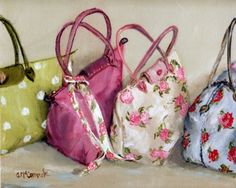 PRINT ON PAPER - A Fetish for Floral Bags - FREE  Shipping WORLD WIDE