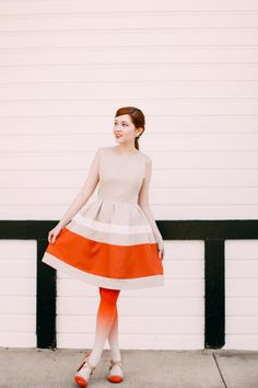 The Clothes Horse: Outfit: Ombre Layering Outfits, Fall Outfits, Cute Outfits, Orange Tights, Patterned Tights, Cool Style, My Style, Clothes Horse, Preppy