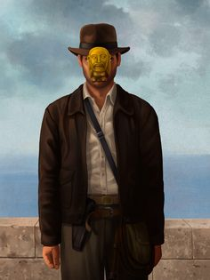 High Art Meets Pop Culture With Geeky Versions of René Magritte's The Son of Man - Indiana Jones! Rene Magritte, Indiana Jones, Henry Jones Jr, Mary Sue, The Son Of Man, Humor Grafico, Indie Movies, Lost Art, High Art