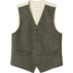 Toast Harris Tweed Birdseye Check Waistcoat ($205) ❤ liked on Polyvore featuring mens, men's clothing, men's outerwear and men's vests