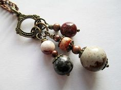 Stone Beaded Necklace Pendant Necklace Brown by LittleBitsOFaith, $27.00