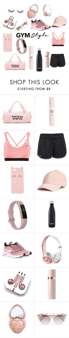 """""""I work out! 👍🏽"""" by mintmila ❤ liked on Polyvore featuring ban.do, NIKE, Under Armour, Charlotte Russe, Fitbit, S'well, Beats by Dr. Dre, PhunkeeTree, Valentino and Too Faced Cosmetics"""