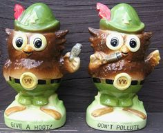 Check out Vintage Woodsy Owl Give A Hoot Don't Pollute Salt Pepper Shaker Set Japan 1950s  http://www.ebay.com/itm/Vintage-Woodsy-Owl-Give-Hoot-Dont-Pollute-Salt-Pepper-Shaker-Set-Japan-1950s-/151349306621?roken=cUgayN via @eBay