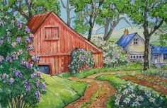 Lilac Season by Alida Akers Cute Cottage, Cottage Art, Nostalgic Art, Storybook Cottage, Farm Art, Red Roof, Beautiful Lines, Whimsical Art, Watercolor Landscape