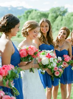 Pretty maids in blue. Bridesmaids' Dresses: J.Crew - jcrew.com  Read More: http://www.stylemepretty.com/2014/06/04/rustic-jackson-hole-wedding/ Photography: CarriePattersonPhotography.com