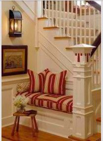 Nook Bench-- Love this!! I wonder if we could do this in our foyer with a rounded staircase??