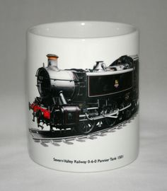 This white ceramic mug is decorated with a highly detailed hand drawn illustration of the Class 1500 GWR Pannier Tank Engine No. 1501 preserved and operated by the Severn Valley Railway. Severn Valley, Preserves, Engineering, Ceramics, Mugs, Tableware, Illustration, Ebay, Christmas Gifts