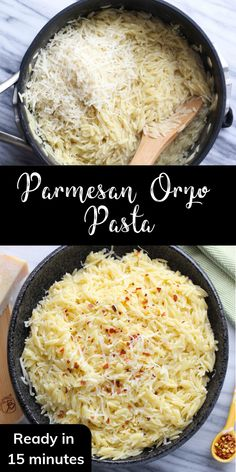 This easy Parmesan orzo pasta can be made in just 15 minutes! It's a perfect veg… This easy Parmesan orzo pasta can be made in just 15 minutes! It's a perfect vegetarian side dish and you only need a handful of pantry staples to prepare it! Pasta Side Dishes, Pasta Sides, Vegetarian Side Dishes, Food Dishes, Vegetarian Recipes, Healthy Recipes, Spaghetti Sides Dishes, Meatless Pasta Recipes, Al Dente