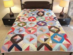 Vintage-All-Cotton-Hand-Quilted-SUN-and-SHADE-QUILT-80-034-x-72-034-Nice-Condition
