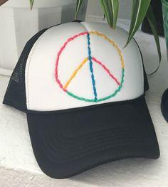 Boho peace sign adjustable back trucker hat black white multi by eclecticvintageboho on Etsy