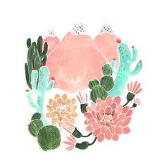 """Oopsy Daisy Cactus Mountain Dream by Rae Ritchie Paper Print Size: 11.5"""" H x 11.5"""" W x 0.07"""" D"""