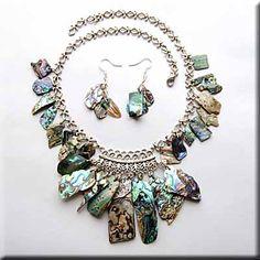 handmade jemstone jewelry | Gemstone Jewelry on Handcrafted Natural Paua Shell Jewelry Set On A ...