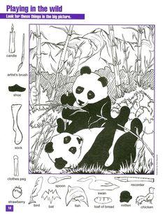 Hidden Object Puzzles, Hidden Picture Puzzles, Hidden Objects, Find Objects, Hidden Pictures Printables, Water Deer, Hidden Images, Hidden Pics, Panda Party