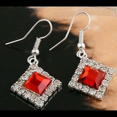 Sold! Red Crystal Sterling Silver Earrings New Super Sparkly in Person Great for Sensitive Skin Tarnish Free with Proper Care Brand New Bundle & save up to 20 % discounts or more No PayPal No Trade zdazzled Jewelry Earrings