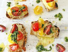 Paleo Grain Free Caprese Crostini with Basil Oil. Recipe and photographs The Luminous Kitchen
