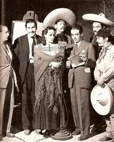 "Dolores at the start of her Mexican career: Emilio ""el Indio"" Fernandez, Dolores Del Rio, Augustine Isunza, Pedro Armendariz and Armando Soto la Marina on Radio Mil during the filming of the movie, ""Wild Flower"" in 1943."