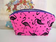 1718aacec9 Cotton zipper pouch - multipurpose - make up - flamingo - sewing pouch -  bits and pieces - girls - women - gift - handmade