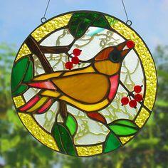 Pájaro de vidrieras. Panel de vidrio de la ventana. por MyVitraz