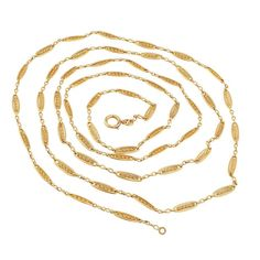 For Sale on - Antique French long gold chain necklace circa The gold design comprises a series of handcrafted open work links completed by a slightly Cultured Pearl Necklace, Diamond Pendant Necklace, 14k Gold Chain, Gold Chains, Long Chain Necklace, Looks Chic, Gems Jewelry, Luxury Jewelry, French Antiques