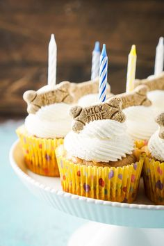 TheseApple & Peanut Butter Pupcakesare a great easy and homemade dog treat for your dog's birthday!