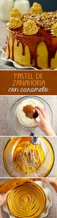 Todos los fanáticos del pastel de zanahoria y los pasteles de cumpleaños deberían probar esta receta de Pastel de Zanahoria con Betún de Caramelo. Es el sueño hecho realidad para los amantes de los postres caseros.