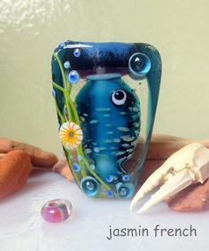 jasmin french ' fish in water ' lampwork focal bead ooak