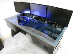 Triple monitor transparent desk installed PC #casemodding #computer #awesome