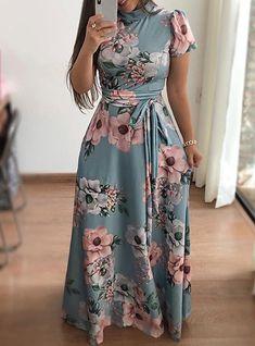 Women Long Dress Floral Print Beach Maxi Dress Casual Long Sleeve Turtleneck Bandage Long Party Dress Vestidos Plus Size Color Black Size S Elegant Party Dresses, Casual Dresses, Maxi Dresses, Elegant Maxi Dress, Bandage Dresses, Long Dresses, Stylish Dresses, Dress Long, Dress Outfits