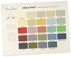 colorchart1 for Annie Sloan paint   @http://www.jennieleighdesign.com/store/chalk-paint-color-card/#