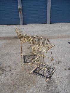 Vintage Mid Century metal pair of Bar stools