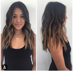 Ombre hair: the most beautiful color gradients and if we dared ombre hair? For some seasons now, this colorful gradient has seduced more than. Ombre Hair Long Bob, Best Ombre Hair, Brown Ombre Hair, Brown Hair Balayage, Ombre Hair Color, Hair Highlights, Asian Balayage, Color Highlights, Medium Hair Styles