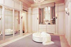 Modern Spaces with Mirrored Closet Doors : Mirrored Closet Doors In Classy Closet Design Idea White Closet, Walk In Closet, White Wardrobe, Master Closet, Closet Space, Glam Closet, Modern Closet, Perfect Wardrobe, Closet Interior