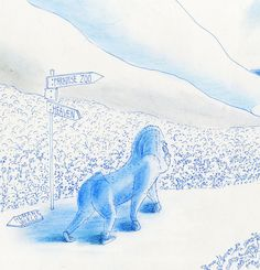 Mandrill-04, Pen, Watercolor and Pastel