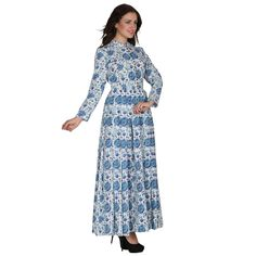 Block printed long maxi dress by OrchidsSutraa on Etsy