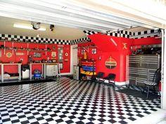 A man's dream garage! | Garage | Pinterest | Caves, Black and white tiles  and Garage ideas