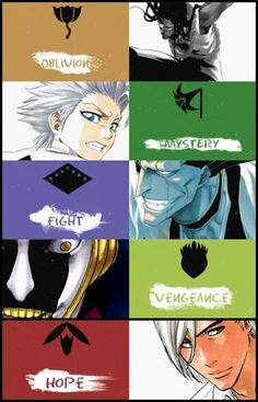Tousen Kaname Captain of the division - Oblivion, Hitsugaya Toshiro Captain of the division - Mytery, Zaraki Kenpachi Captain of the division - Fight, Kurotsuchi Mayuri Captain of the division - Vengeance, Ukitake Jushiro Captain of the division - Hope Bleach Meme, Bleach Fanart, Bleach Manga, Sad Anime, Me Me Me Anime, Manga Anime, Anime Art, Departed Soul, Bleach Characters