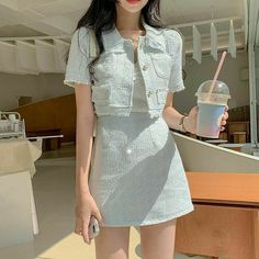 Korean Casual Outfits, Korean Outfit Street Styles, Korean Fashion Dress, Ulzzang Fashion, Kpop Fashion Outfits, Girls Fashion Clothes, Mode Outfits, Girly Outfits, Cute Casual Outfits