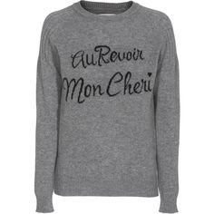 ZOE KARSSEN Au Revoir Deluxe Heather Grey Cashmere sweater with... ($170) ❤ liked on Polyvore featuring tops, sweaters, ribbed top, slimming tops, round neck sweater, raglan top and letter sweater