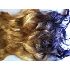 Purple and Medium Light Blonde Ombre Fade Dip Dye Clip in Human Hair... ($90) ❤ liked on Polyvore featuring beauty products, haircare, hair styling tools, hair, bath & beauty, grey, hair care and hair extensions