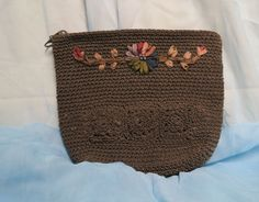 Vintage Corde Purse Handbag Ribbon Embroidery by KansasKardsStudio