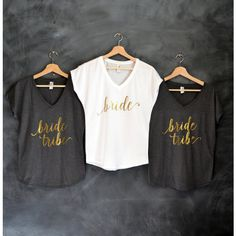 Bride Shirt Bridesmaid Shirts Bride Tribe Gold Vneck Bachelorette... ($18) ❤ liked on Polyvore featuring tops, t-shirts, grey, women's clothing, bridal t shirts, crew neck t shirt, crew t shirt, bridal party shirts and bridal party t shirts