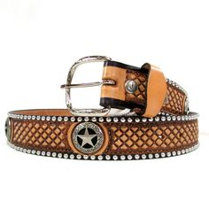 Double J Saddlery Natural Leather Tooled Belt B420 $159.95