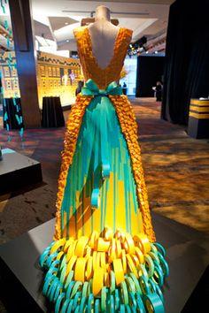 David Stark installation for 2011 Cooper-Hewitt gala; dress made from 3M tape