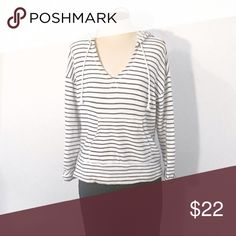 """Joie Striped Hoodie Pullover Soft Joie Striped """"Evita"""" Hoodie Pullover, Knit. Porcelain/Dark Navy. XS. V neck. Drawstring. 100% cotton. Terry cloth on inside. Joie Sweaters"""