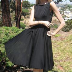 Vintage 50s Designer Teal Traina Dreamy Black Silk Chiffon Full Circle Skirt Party Dress