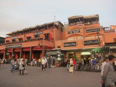 The famous Cafe de France lines Jemaa El Fna Square in Marrakech, Morocco.